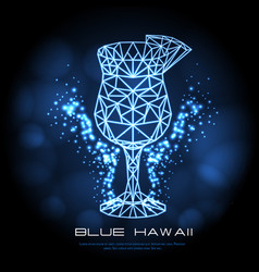 Hipster polygonal cocktail blue hawaii neon sign vector