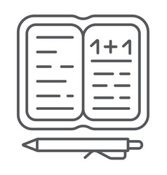 homework thin line icon paper and school vector image