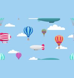 hot air balloons cartoon air transport pattern vector image