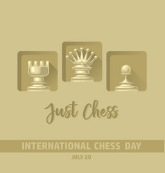 International chess day card chess pieces vector
