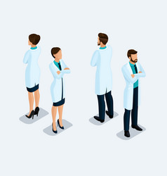Isometric medical staff hospital doctor vector