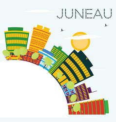 juneau usa skyline with color buildings blue sky vector image