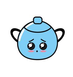 Kawaii cute sad boiler pan vector