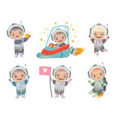 Kids astronauts children funny characters vector