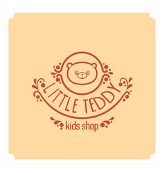 Kids shop logo with teddy bear cute kindergarten vector