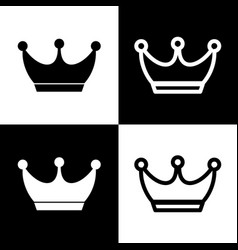 king crown sign black and white icons and vector image