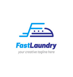 Laundry logo with clothes iron icon vector