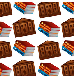 library pile books and school building pattern vector image
