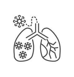 lungs infection related thin line icon vector image