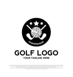 Luxurious golf logo design golf championship sign vector