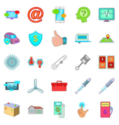 Machine repair icons set cartoon style vector
