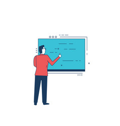 man and blackboard vector image