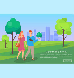man and woman walking in urban park dating vector image