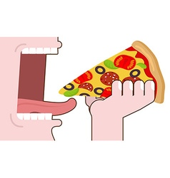 Man eating pizza Pizza hand Wide open mouth with vector image