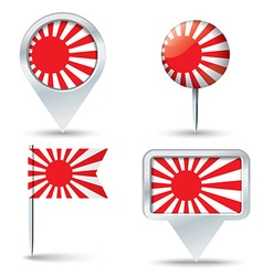 Map pins with Japanese Naval flag vector