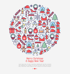 merry christmas celebration concept in circle vector image