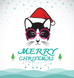 Merry christmas greeting cat card vector