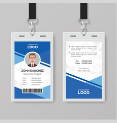 Modern blue id card design template vector