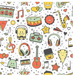 musical seamless pattern hand drawn doodles vector image