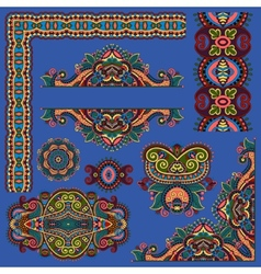 Paisley floral design elements for page decoration vector