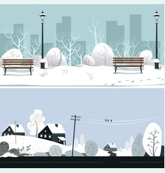 park and countryside in winter snowy landscape vector image