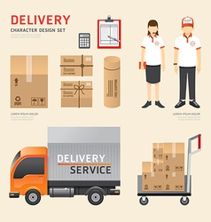 people set delivery shipping service job character vector image