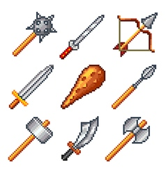 Pixel weapons for games icons set vector
