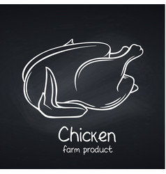 raw whole chicken chalkboard style vector image