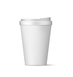 realistic white paper coffee cup with lid front vector image