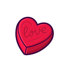 red heart shape box icon isolated on white vector image