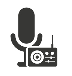 retro microphone with audio icon vector image