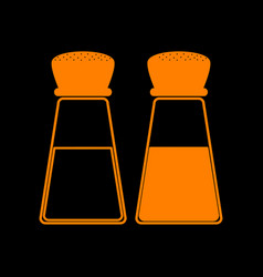 salt and pepper sign orange icon on black vector image