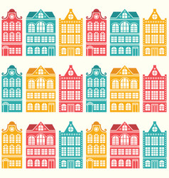 Seamless house pattern - dutch amsterdam house vector