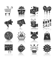 Season sale black silhouette reflection icon set vector