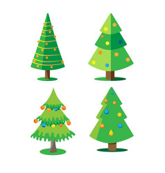 Set christmas trees decorated with christmas vector