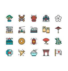 set japanese culture color line icons bonsai vector image