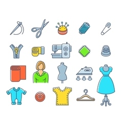 Sewing tools flat outline icons vector image