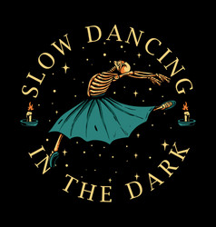 skeleton ballerina dancing with candle light vector image