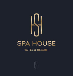spa house logo premium monogram hotel resort vector image