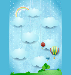Surreal landscape with hot air balloons and vector
