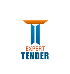 T letter icon for expert tender company vector