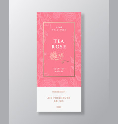 tea rose home fragrance abstract label vector image