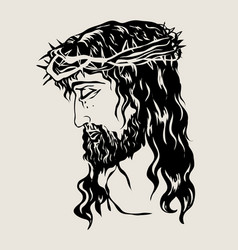 The face of the lord jesus sketch drawing vector