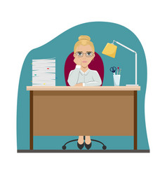 tired girl at work at office table office vector image