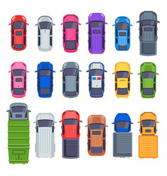 top view cars auto transport truck and car roof vector image