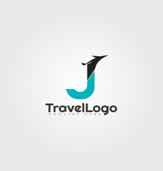Travel agent logo design with initials j letter vector