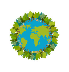 Trees and earth planet and forest earthly nature vector