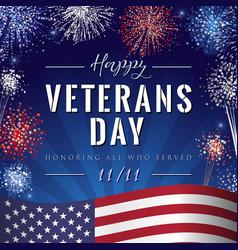 veterans day lettering fireworks vector image