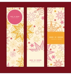 Warm stars vertical banners set pattern background vector