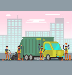 waste management and city garbage collection for vector image